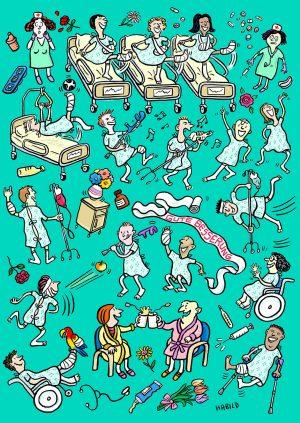 Krankenhaus, Gesundheit, Alles Gute, Genesung, Hals und Beinbruch, Pillen, krank, Arzt, Patient, Krankenschwester, Krankenbett, Blumen