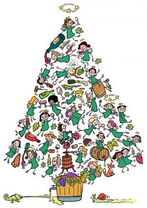 Wein, Weihnachten, Baum, Engel, betrunken, Schwips, angeheitert, anstoßen, Weinstock, Weinglas, Rebe