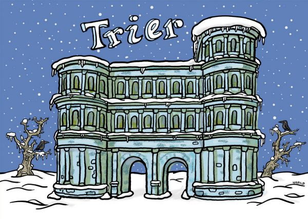 Trier, Porta Nigra, Winter, Schnee, Stadt