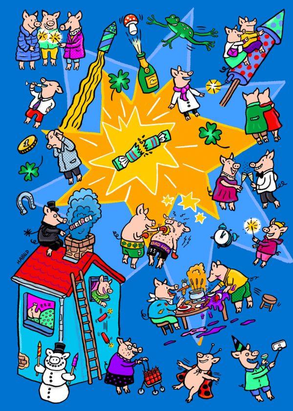 Silvester, Schwein, Glück, Kracher, Feuerwerk, Glücksschwein, Glücksbringer