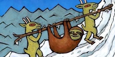 Faultier, Ziege, Mount Everest