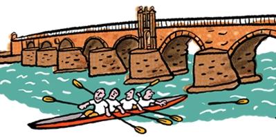 trier, römerbrücke, mosel, ruderboot, rudern, alte brücke, fluss, brücke, alt