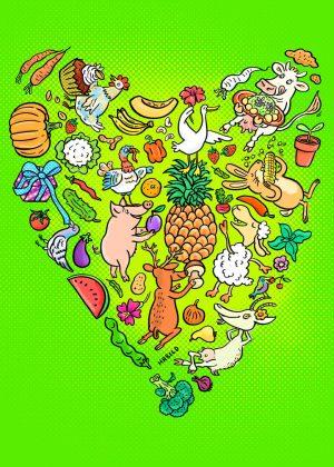 Tiere, Obst, Gemüse, Fest, Pary, Veggie, Vegetarier, Essen, vegetarisch, Herz