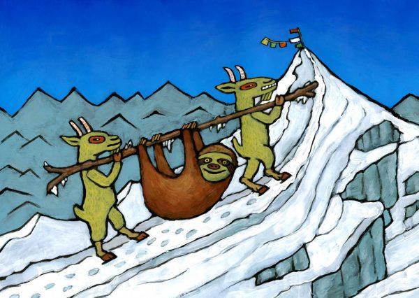 Erstes faultier auf dem Mount Everest