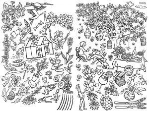 Wimmelbild Ausmalkarte Ausmalbild Frühling Garten Party Feier Pflanzen Wachsen Grün