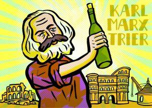 Karl Marx Wein Trier Porta Nigra Weinflasche Kommunismus