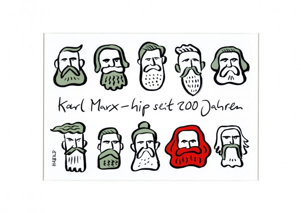 Karl Marx Hipster Trier 200 Jahre Bart Bärte Kommunismus Cartoon modern hip Jugend