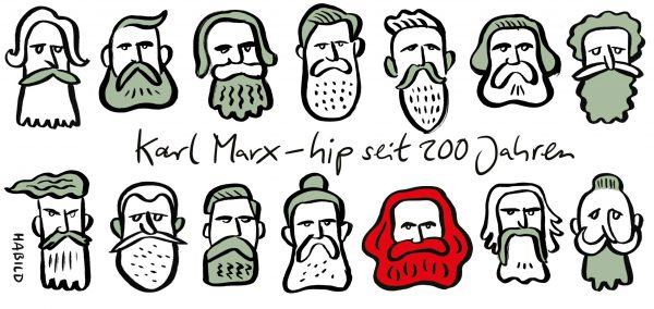 Karl Marx Hipster hip Bart 200 Jahre modern