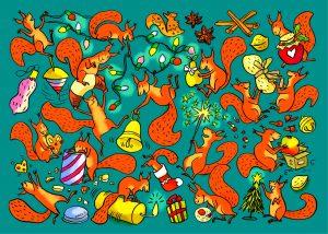 weihnachten eichhörnchen wimmelbild nüsse lichterkette bescherung plätzchen gewürze glocke plätzchen