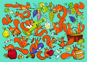 eichhörnchen wimmelbild nüsse wein weinlese trauben weinflasche glas weinglas weinfass