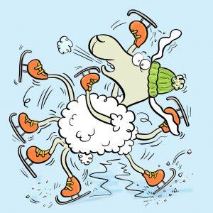 Elvis, Schaf, Eis, Schlittschuhe, Eislaufen, Rutschen, kalt, Winter