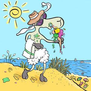 Elvis, Schaf, Sommer, Sonne, Strand, Eis, Baden, Meer