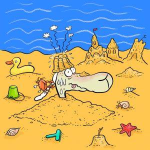 Sand, Strand, Hitze, Meer, Urlaub, Elvis, Schaf, Sandburg