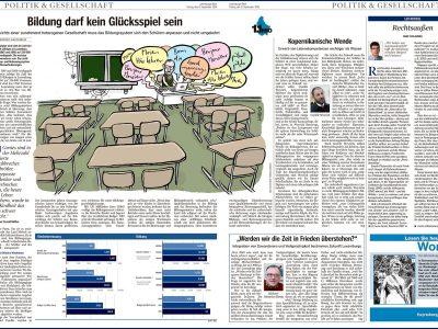 Schule, digital, mehrsprachig, Zukunft, Klassenzimmer, Klassenraum, Lehrer, Schüler, Computer, Lernen, Guten Morgen, Bonjour, Good Morning