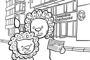 Clementine, Kinderkrankenhaus, Ausmalheft, ausmalen, Kind, krank, Krankenhaus, Bauchweh, Bauchschmerzen, Einweisung, Arzt, Hospital, Leopaulino, Löwe
