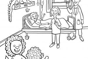 Clementine, Kinderkrankenhaus, Ausmalheft, ausmalen, Kind, krank, Krankenhaus, Bauchweh, Bauchschmerzen, Einweisung, Arzt, Bett, Krankenbett, Krankenzimmer, Hospital, Leopaulino, Löwe