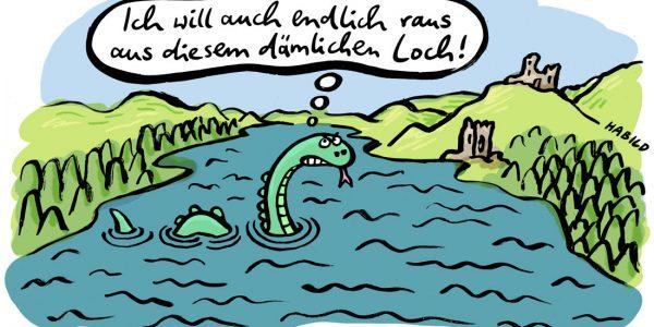 Exit Nessie Loch Ness Großbritannien UK Exit Unabhängigkeit EU