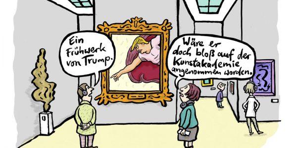 Donald Trump Kunst Hitler Aussstellung Galerie Museum Gemälde USA Größenwahn Gott Erschaffung Adams Michelangelo